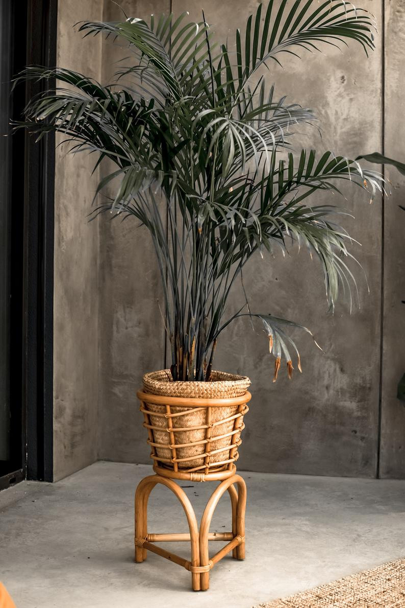 natural rattan plant stand for bathroom plants