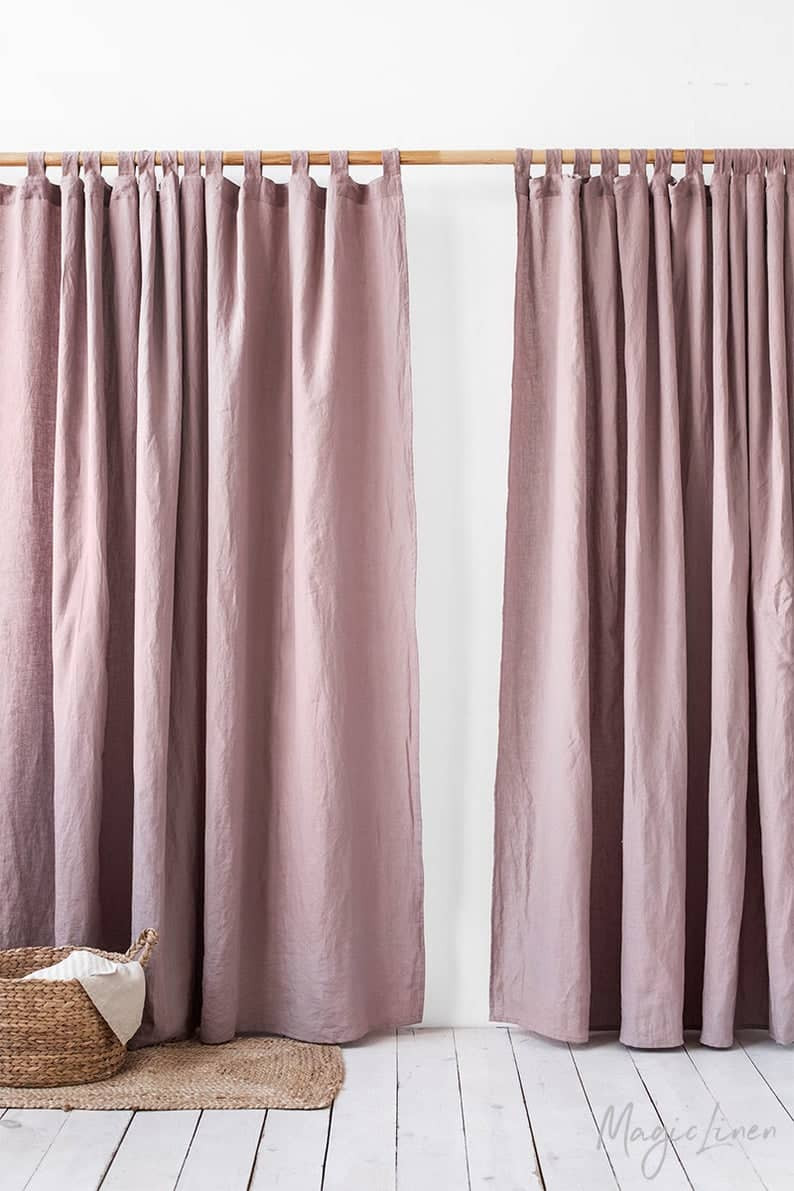 Semi sheer window or door curtain