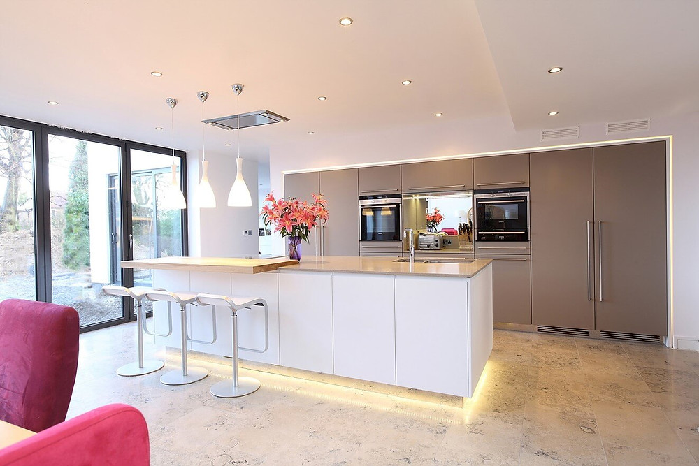 Benefits of Using LED Lighting In Interior Design. Kitchen design with LED lights installed.
