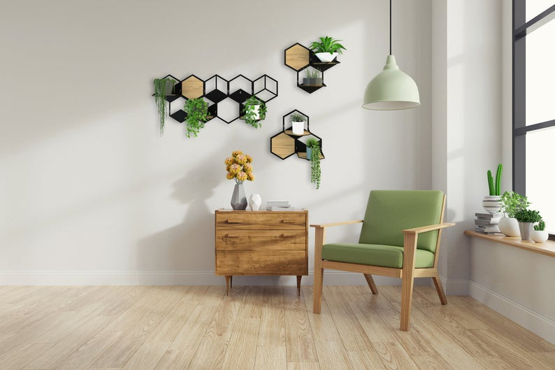 wall plant holder geometric modular planter with succulents