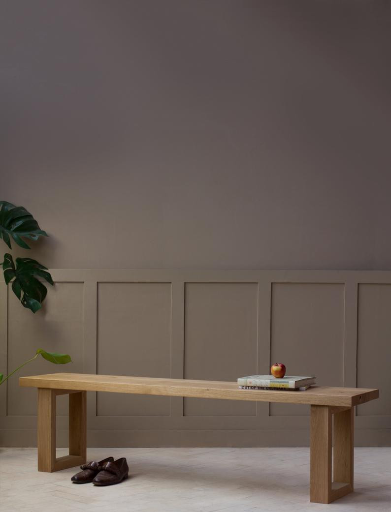 Japandi style solid oak bench by KONK. Click on the image to shop directly from the maker on Etsy.