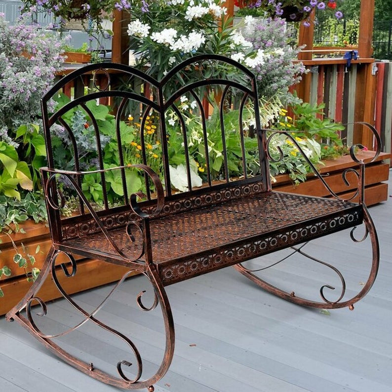 Iron rustic bench perfect for outdoor living room