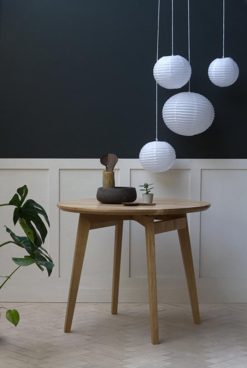 Handmade Sustainable oak dining table by KONK, on Etsy. Perfect fit for Japandi style interior.