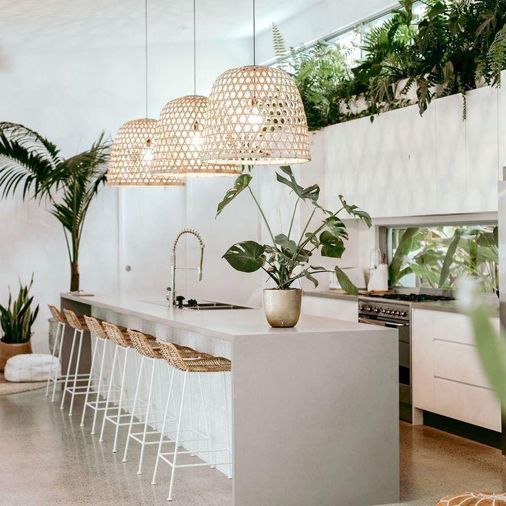 Rattan furniture in kitchen