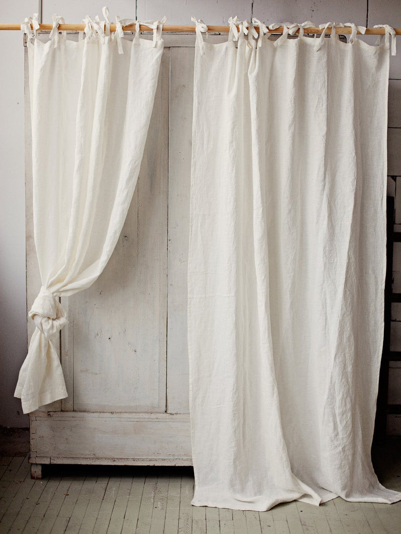 Tie top linen curtain