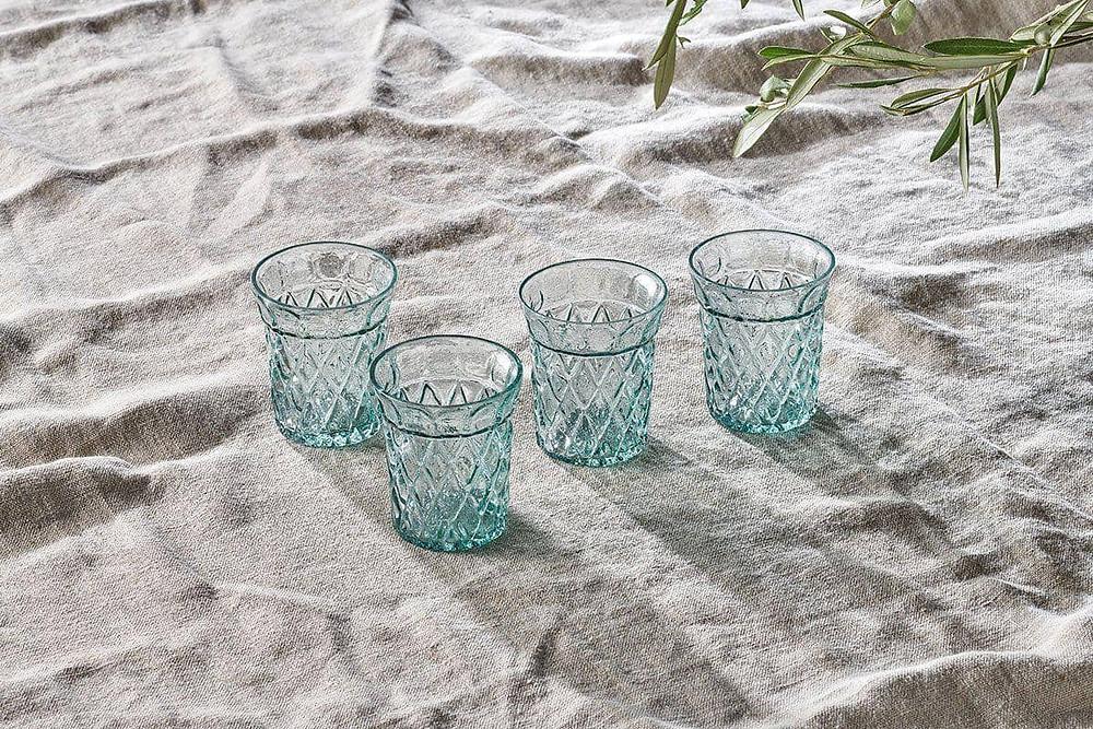 aqua blue tumbler glasses