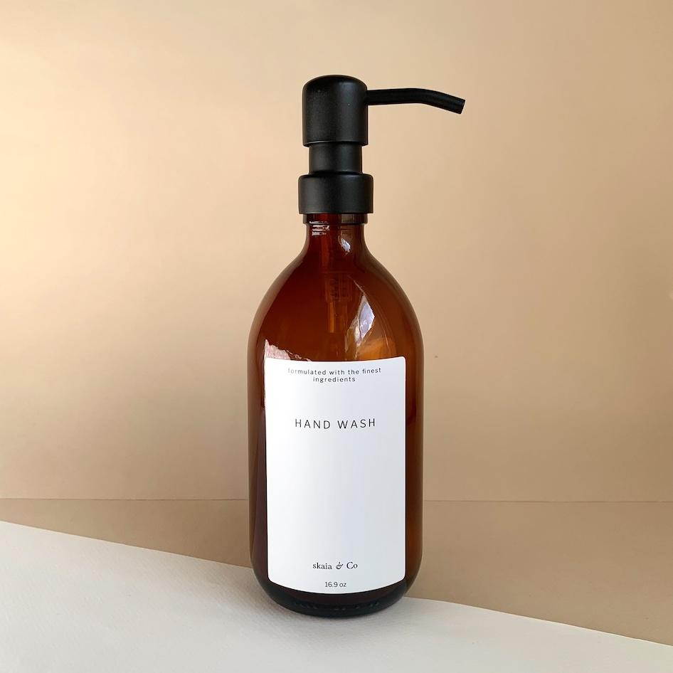 Spa bathroom decor - amber glass soap dispenser