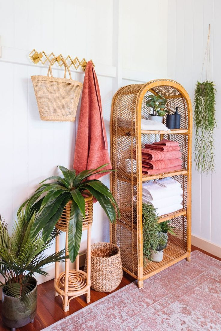 Rattan furniture trend bathroom shelving.