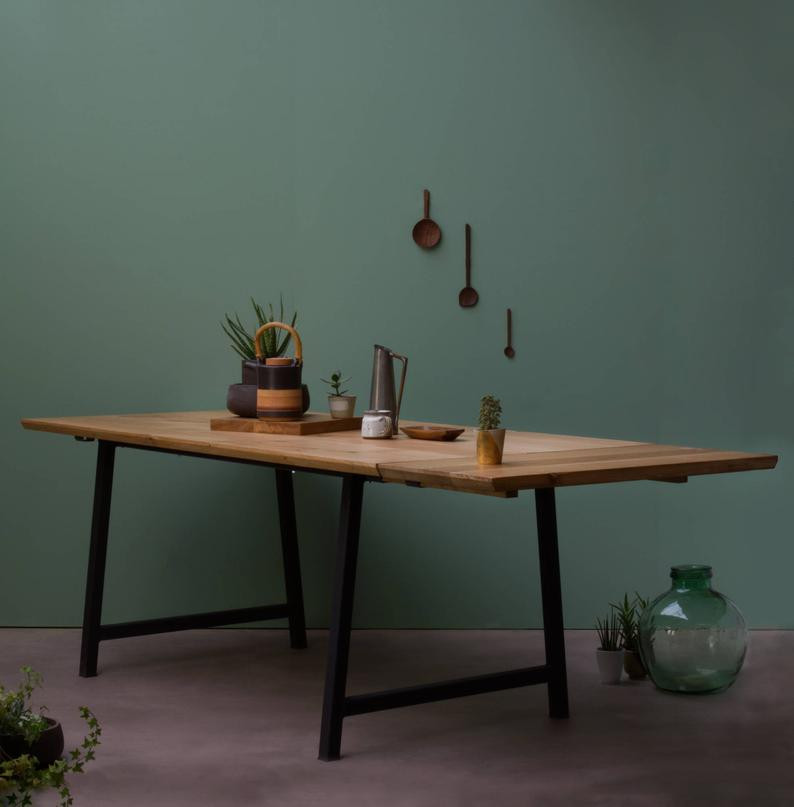 Sustainable Oak dining table for and eco friendly breakfast nook