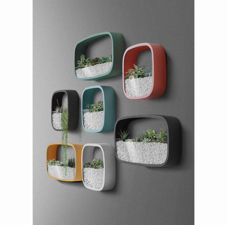 colourful geometric wall terrarium planter