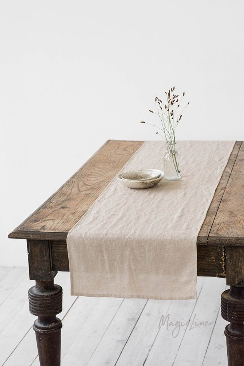 stone washed linen table runner for autumn decor