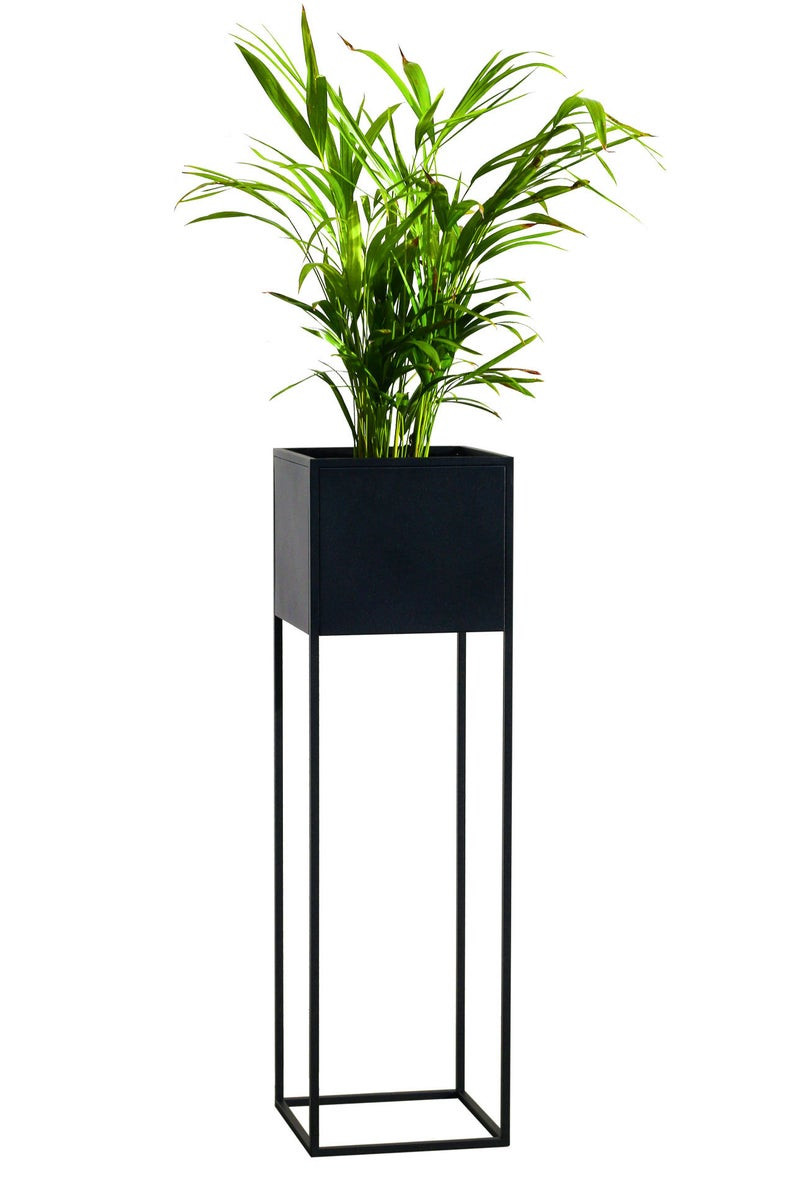 Tall metal planter for a small bathroom
