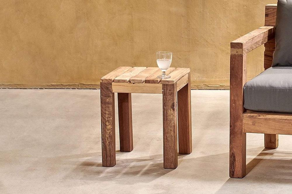Reclaimed Teak Side Table in light wood tone