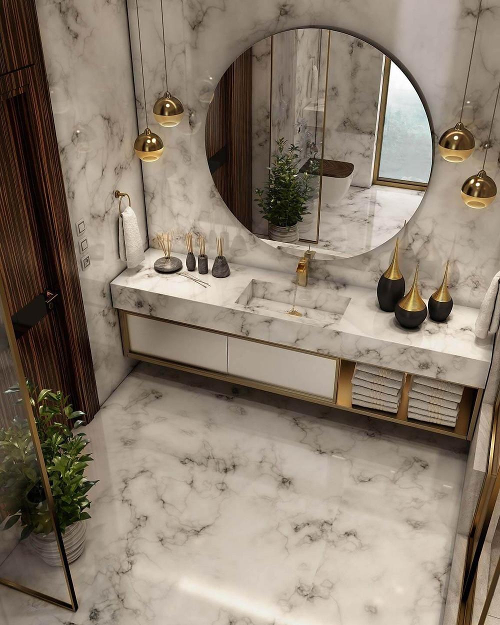 luxurious bathroom decor on a set budget by Barbulianno Design
