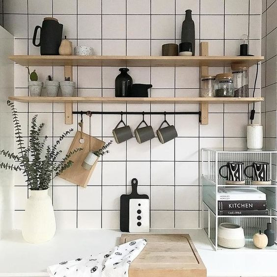 minimal kitchen with open shelving from ikea