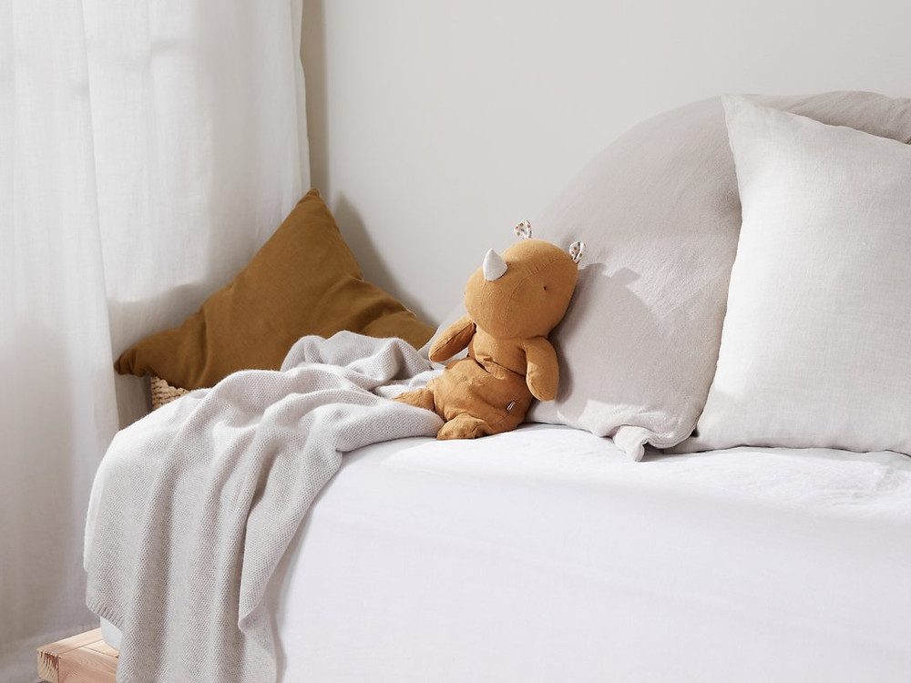 Stuffed Linen Rhino as an Eco Friendly gift for kids.