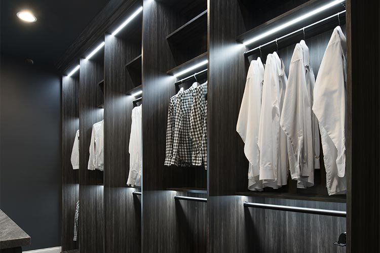 LED lights installed in wardrobe, design example.