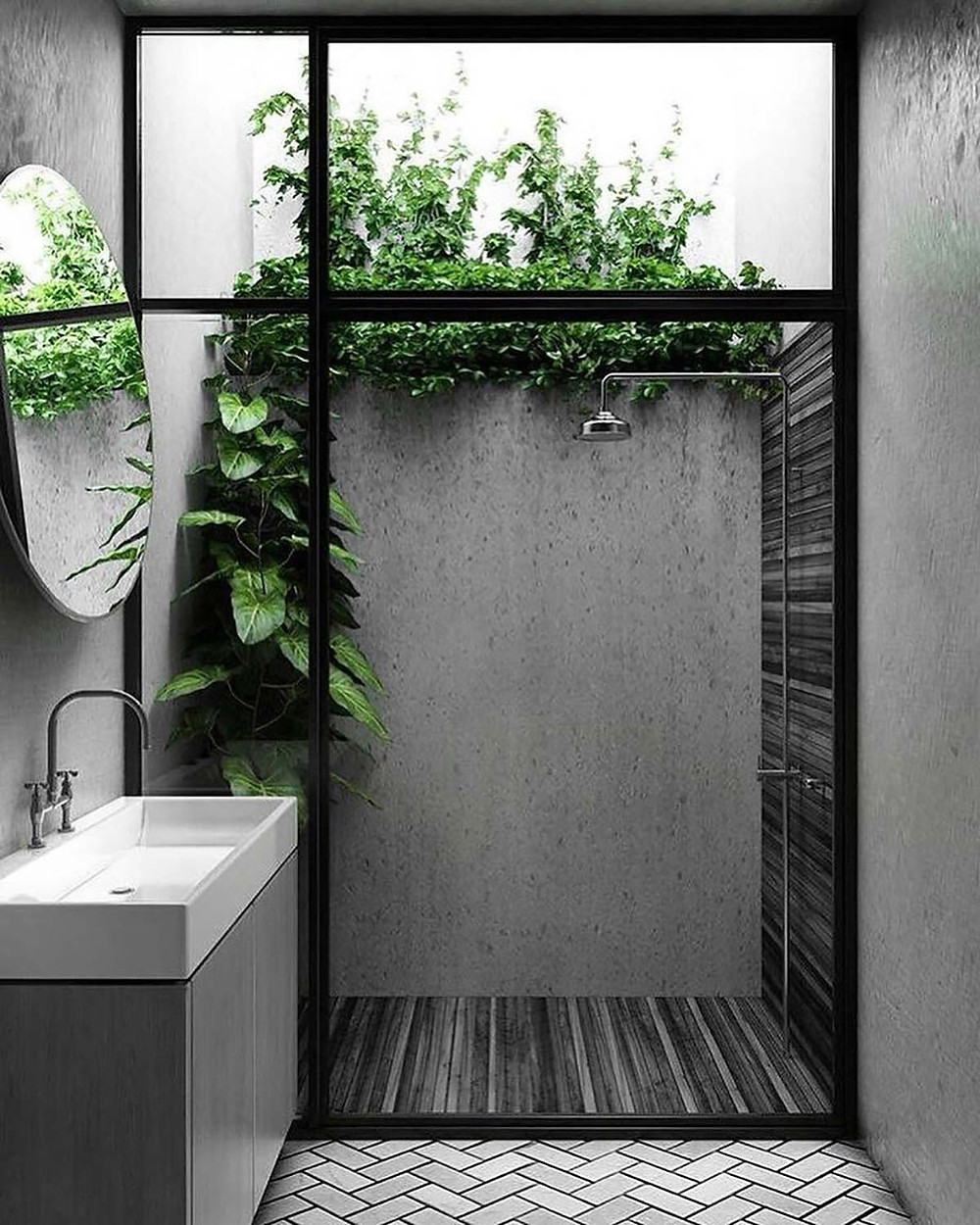 biophilic design in outdoor bathroom