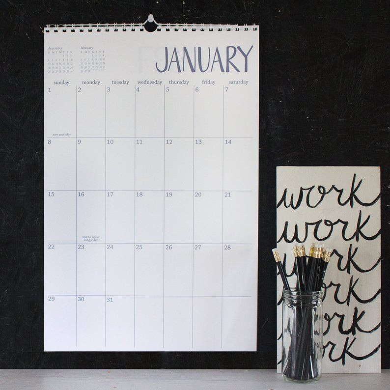 minimal old school wall calendar diy