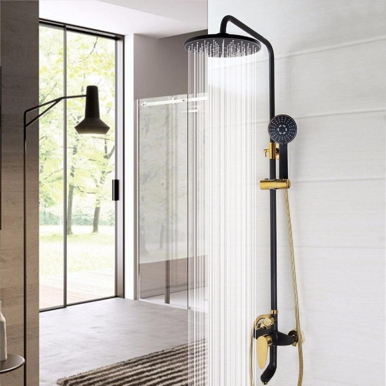 spa bathroom shower feature - black shower head system