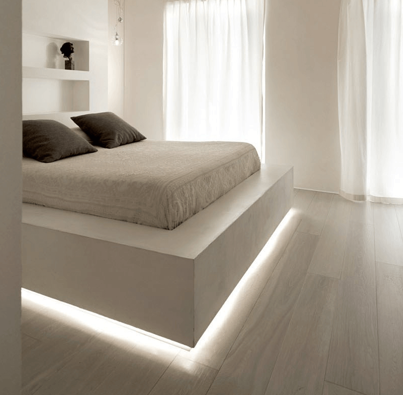 Benefits of led lighting. LED lights installed in bedroom example.