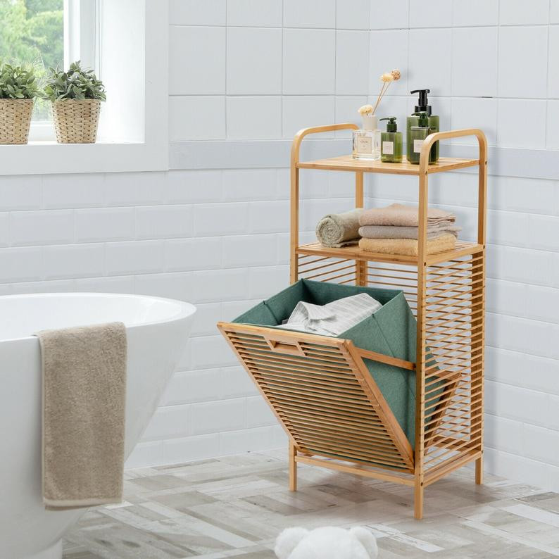 Spa bathroom decor, bamboo laundry hamper