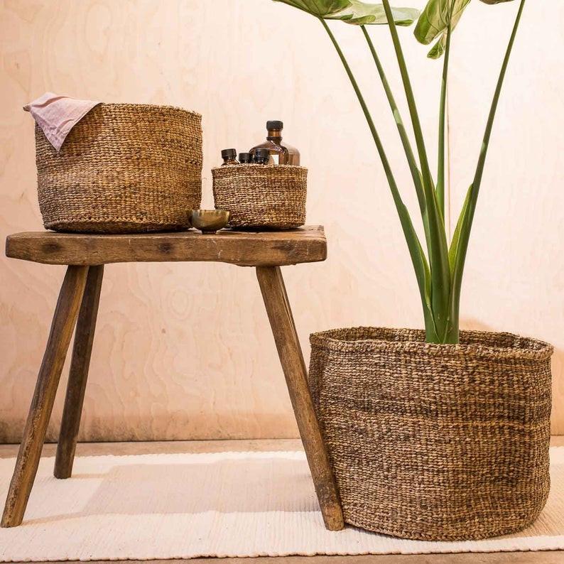 Zen bathroom decor Banana Fibre Woven Basket