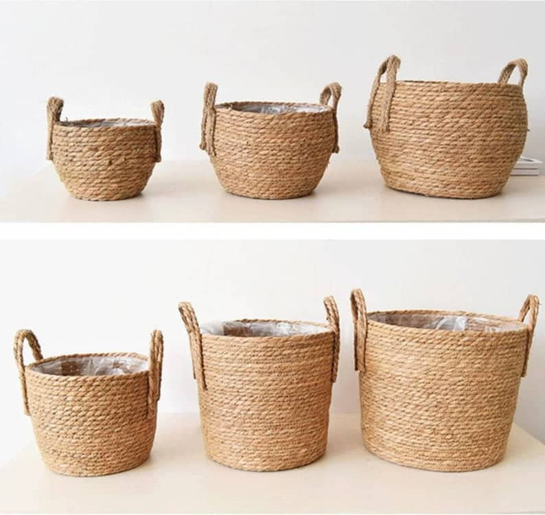 Handmade Straw Basket in natural tan colour. Click on the image to shop the basket from Etsy maker