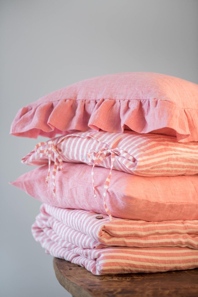 Eco friendly bedding set  in pink colour. Click on the image to shop directly from the maker