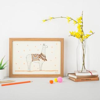 Llama art print - eco friendly recycled