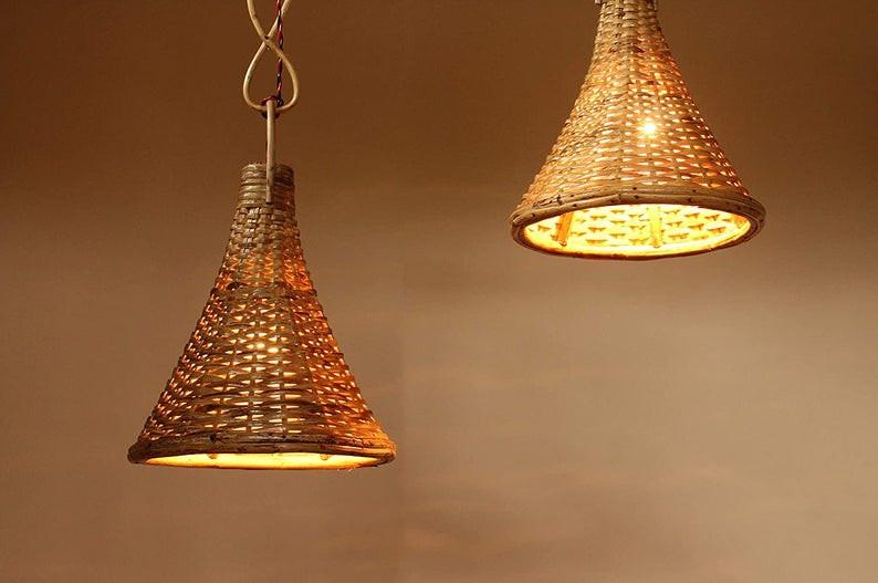 Spa bathroom decor Handmade Eco Friendly Wicker Ceiling Pendant