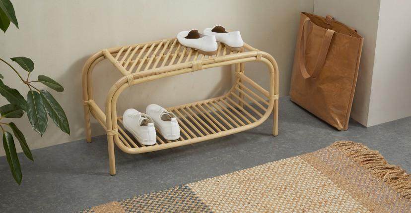 Minimal Rattan shoe rack for entryway decor