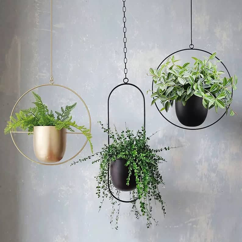 minimal oval 3 hanging planters, tow in black and one in gold colour. Click on the image to shop from Etsy maker.