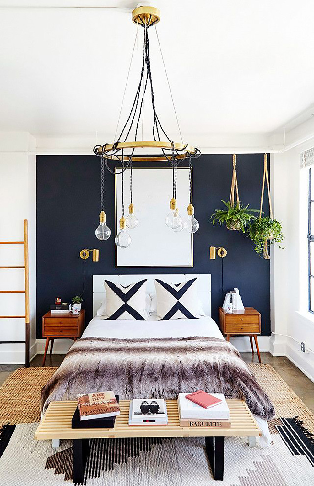 accent black wall in bedroom