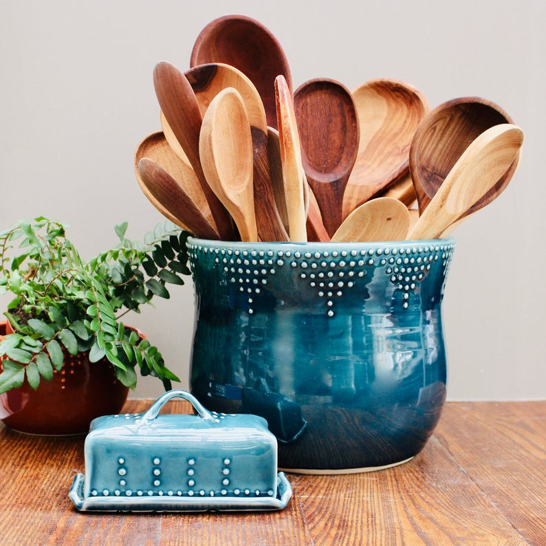 Jumbo Utensil Crock - Farmhouse