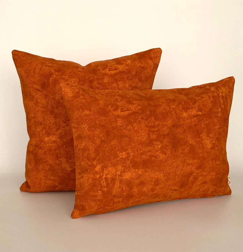 eco friendly burnt orange cushion covers, autumn inspired
