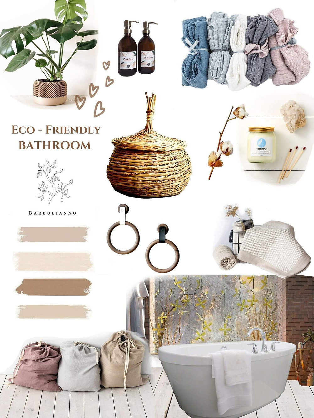 Eco Friendly Minimalist Bathroom Design Mood Board