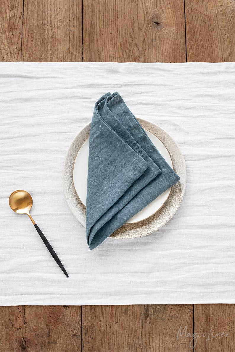 Handmade, stone washed linen cloth napkins