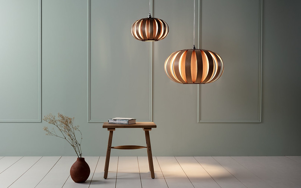 sustainable wooden pendant handmade by Tom Raffield, perfect add on to a cosy breakfast nook