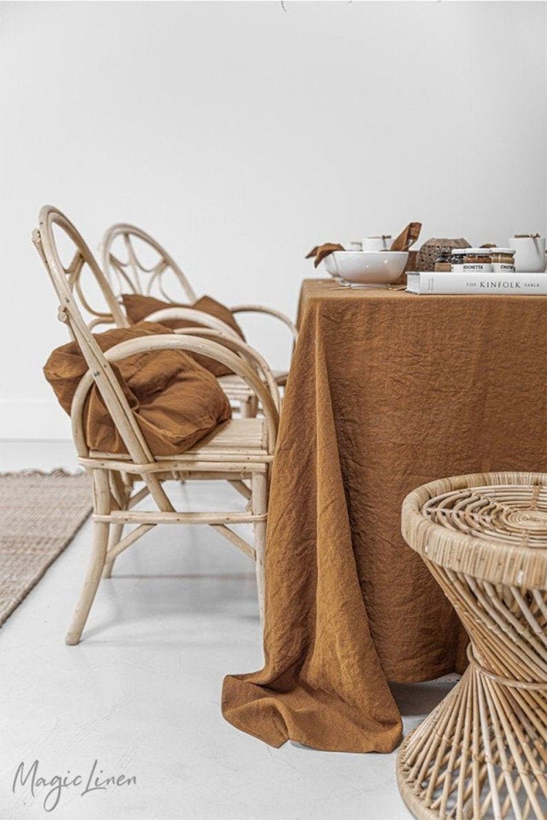 cinnamon linen tablecloth for autumn table decorating