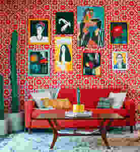 red living room wall design