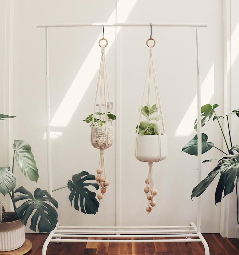 Wood Bead Hanging Planter | Etsy