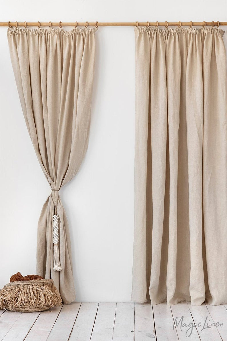 natural linen stonewashed curtain in tan colour. Click on the image to shop directly from Magic linen on Etsy.