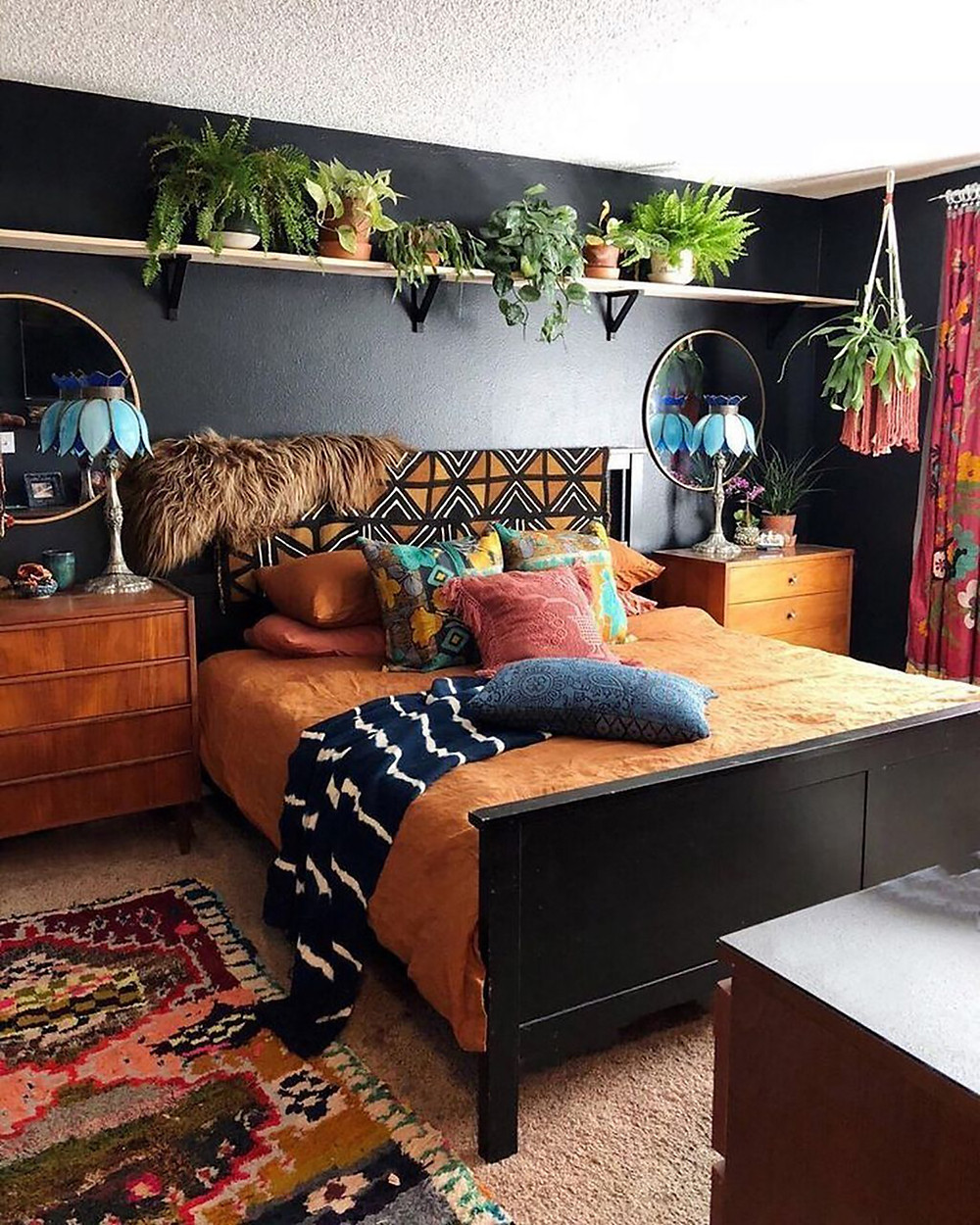 black wall in bohemian style decor