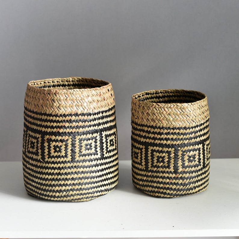 Rattan Plant Basket in natural and black geometric print. Click the image to shop on Etsy.