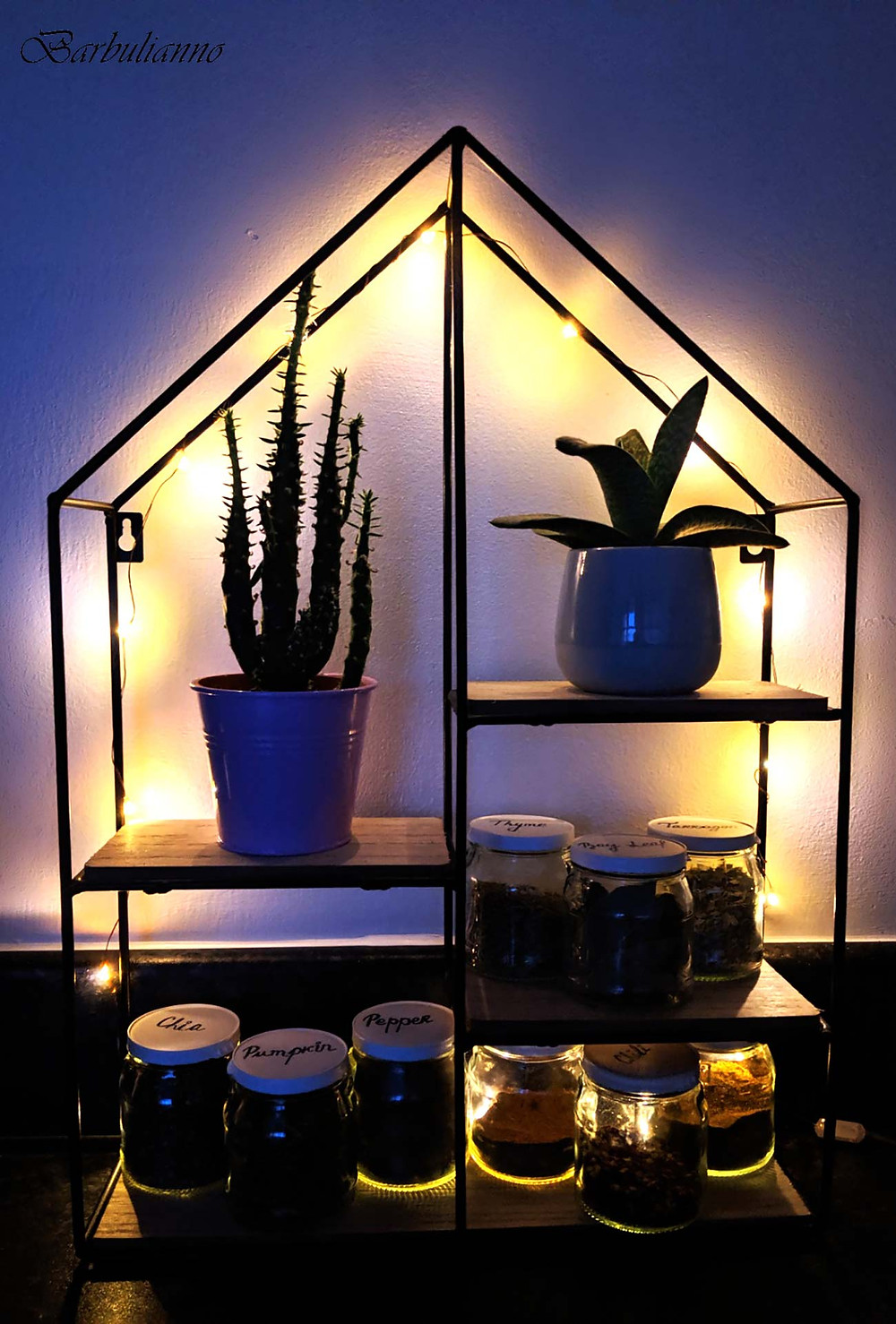 Sustainable spice shelf decor