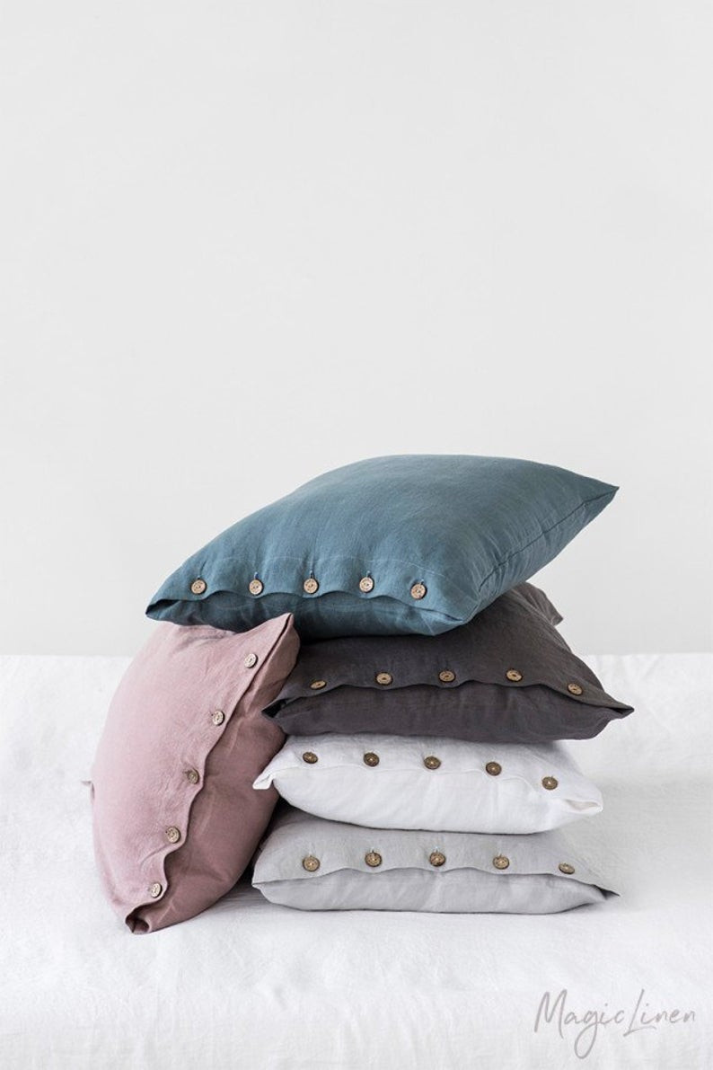 Stone washed linen pillow cases, handmade by Magic linen on Etsy.