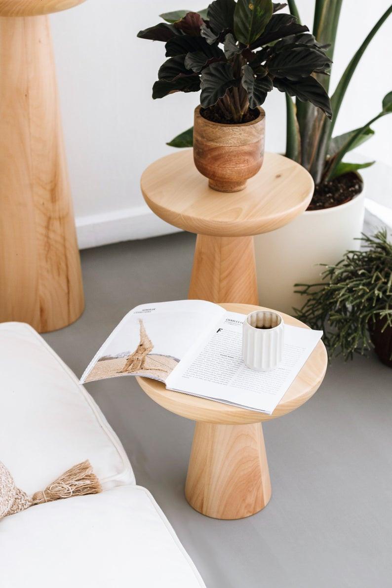 mushroom shape light wood side table