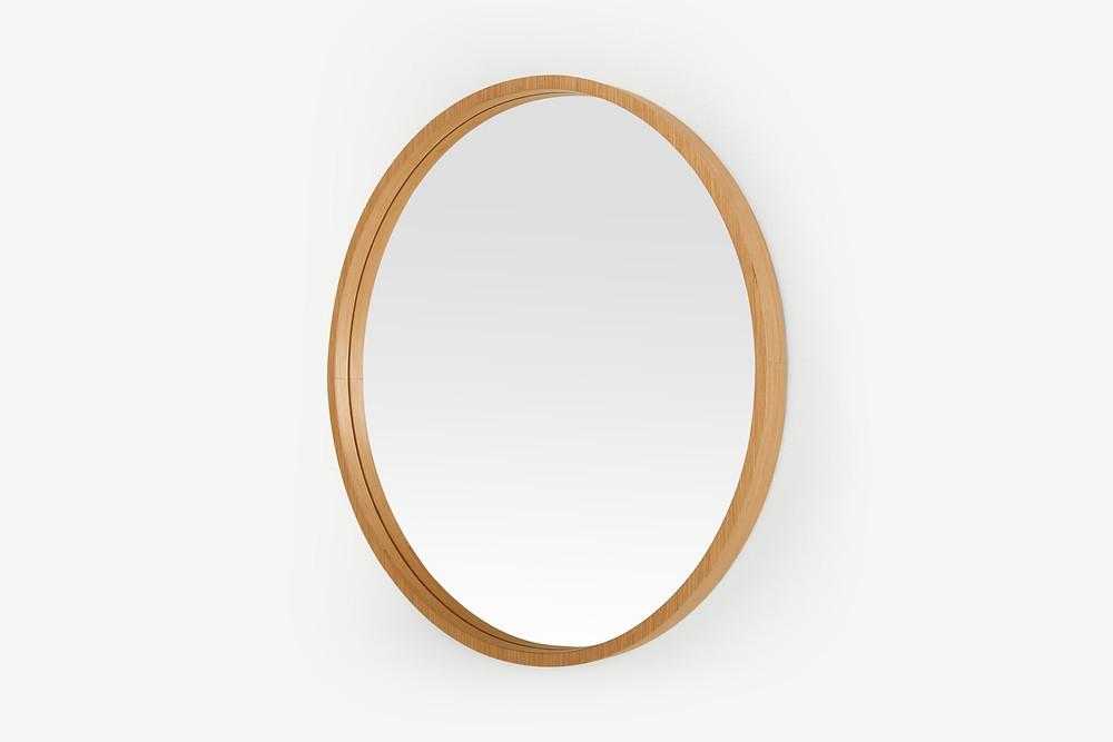 Spa Bathroom styling - round oak mirror.