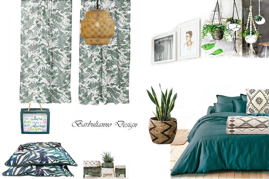 bohemian bedroom mood board, green design , plants in bedroom decor